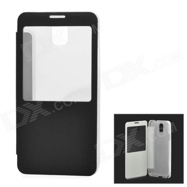 Protective PU Leather + Plastic Case w/ Display Window for Samsung Galaxy Note 3 N9000 - Black