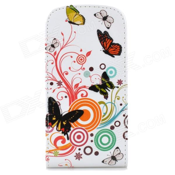 Butterfly & Flower Style Protective PU Leather Case for Samsung Galaxy S3 Mini i8190 - Multicolor cool snake skin style protective pu leather case for samsung galaxy s3 i9300 brown