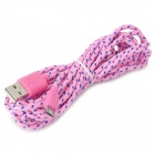 USB to Micro 5-pin USB Woven Data / Charging Sync Cable for Cell Phone - Pink + Blue (290cm)