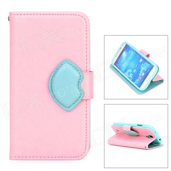 Stylish Protective PU Leather + TPU Case w/ Hand Strap for Samsung Galaxy S4 i9500 - Pink