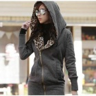 J422 Woman's Fashionable Warm Cotton Jacket w/ Leopard Patterned Hood - Grey (M)