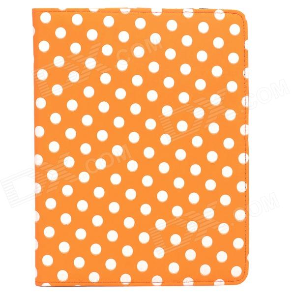 CT1211022 Protective PU Leather + Plastic Rotary Case w/ Stand for Ipad 2 / 3 / 4 - Orange + White rotary revolving leather punch plier round holes for belt bag paper leather spray chroming pvc grip 2 2 5 3 3 5 4 4 5mm