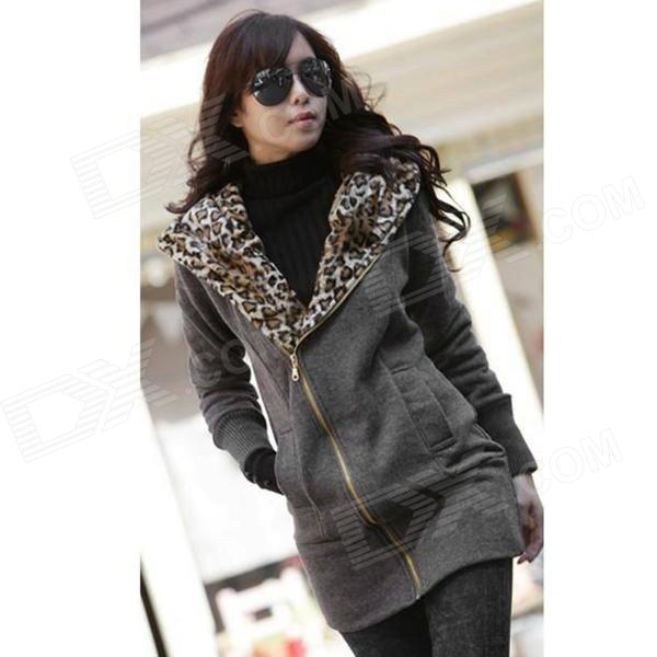 J422 Woman's Fashionable Warm Cotton Jacket w/ Leopard Patterned Hood - Grey (L)