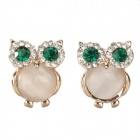 SHIYING D01118 Cute Owl Style Zinc Alloy + Rhinestone Earrings - Golden + White + Green (Pair)
