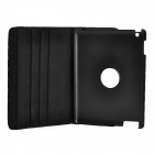 Leather + Plastic Rotary Case w/ Stand for IPAD 2 3 4 - Black + White