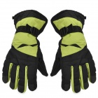 Outdoor Sports Warm Full Finger Ski Gloves - Green + Black (Free Size / Pair)