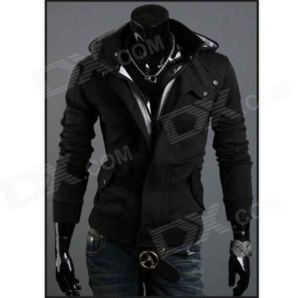 Men's Fashionable Warm Cotton Zipper Jacket w/ Hood - Black + Grey (XL)