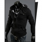 Moda Warm Cotton Zipper Jacket w / Capucha Hombre - Negro + Gris (XL)