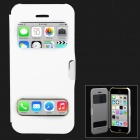Ultrathin Protective PU Leather + Plastic Case w/ Auto Sleep for Iphone 5C - White