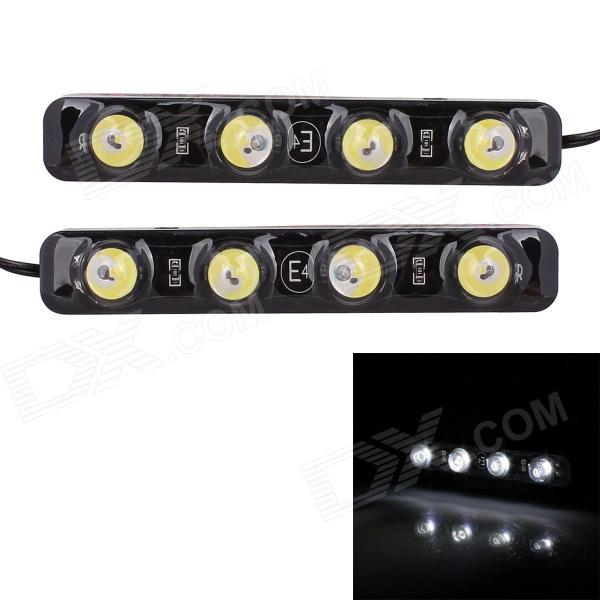 4 in 1 1 5w 80lm 6000k 4 led white light car lamps with controller 1W 72lm 6000K 4-SMD 5050 LED White Light Car Daytime Running Lamps - (DC 12V / 2 PCS)