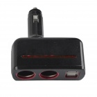 SHUNWEI SD-1918 Rotatable Dual USB Dual Car Cigarette Lighter Charger Adapter - Black