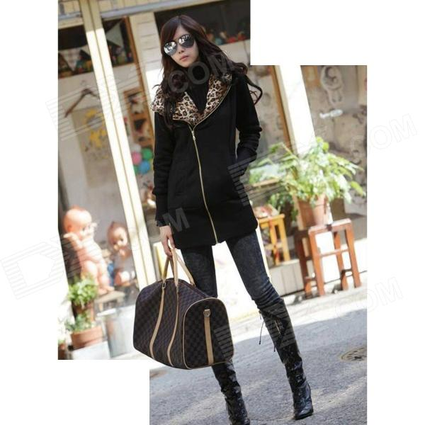J422 Woman's Fashionable Warm Cotton Jacket w/ Leopard Patterned Hood - Black (L)