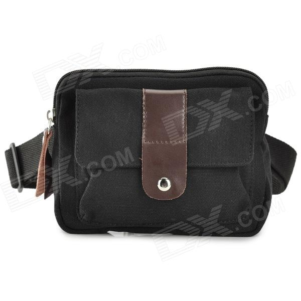 MLF MLF1015 Casual Multifunction Canvas Waist Bag for Men - Black