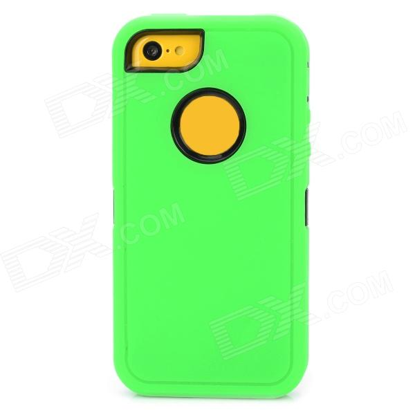 Protective Plastic + Silicone Detachable Full Body Case for Iphone 5C - Green + Black protective detachable plastic case for iphone 5 black