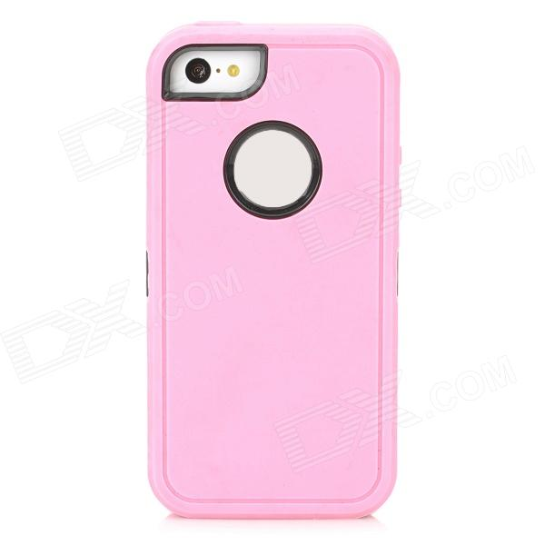 Protective Plastic + Silicone Detachable Full Body Case for Iphone 5C - Pink + Black protective detachable plastic case for iphone 5 black