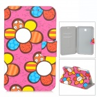Cute Flower Style Protective PU Leather + TPU Case for Samsung T210 / T211 / P3200 - Deep Pink