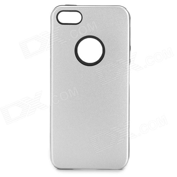 Protective Aluminum Alloy + Silicone Back Case for Iphone 5S - Silver + Black