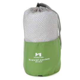 Young Time Cotton Travelling / Outdoor Sports Towel w/ Pouch - White