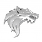 Kistioa G100105 Wolf's Head Style Aluminum Alloy Car Sticker - Silver