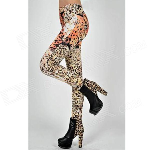 Woman's Sexy Stylish Leopard Pattern Dacron + Spandex Skinny Leggings - Yellow + Black
