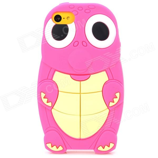 Cute Turtle Pattern Protective Silicone Back Case for Iphone 5C - Deep Pink + Beige + White + Black cute marshmallow style silicone back case for iphone 5 5s yellow white