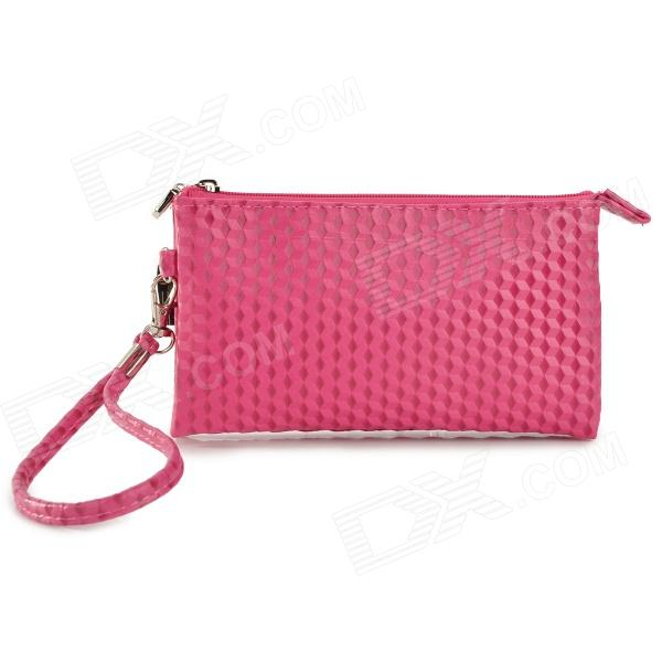 Double Layer Zipper Wallet Coin Purse Cell Phone Storage Pouch Bag w/ Hand Strap - Deep Pink