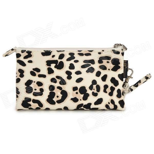 Woman's Fashionable Leopard Pattern PU Leather Zipper Purse - Black + White