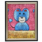 SYVIO Blue Cat Patterned Handmade Oil Painting with Wood Frame - Multicolored
