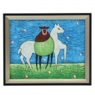 SYVIO Shepherd and A Horse Patterned Handmade Oil Painting with Wood Frame - Multicolored