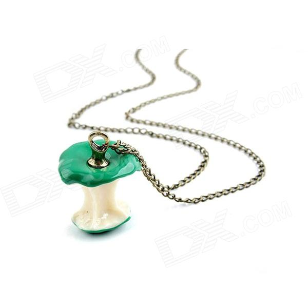 Fashionable Yummy Apple Style Sweater Chain Women's Necklace - Green + Golden