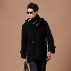 FD201 Stylish Men's Single-Breasted Lapel Coat - Black (Size-L)