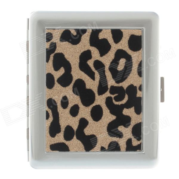 Fashionable Leopard Pattern Stainless Steel Cigarette Case - Golden + Black + Silver (Holds 18 PCS)