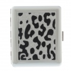 Fashionable Leopard Pattern Stainless Steel Cigarette Case - Silver + Black (Holds 18 PCS)