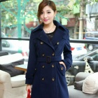 Fashionable Double-Breasted Women's Woolen Jacket - Navy (Size-L)