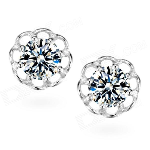 eQute ESIW5 Fashionable 925 Sterling Silver Flower-shaped Shiny Zircon Ear Studs - Silver (2 PCS) sterling silver ear thread