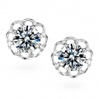 eQute ESIW5 Fashionable 925 Sterling Silver Flower-shaped Shiny Zircon Ear Studs - Silver (2 PCS)
