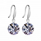 eQute ESIW2 925 Sterling Silver Elegant Shiny Zircon Earrings for Women - Silver (Pair)