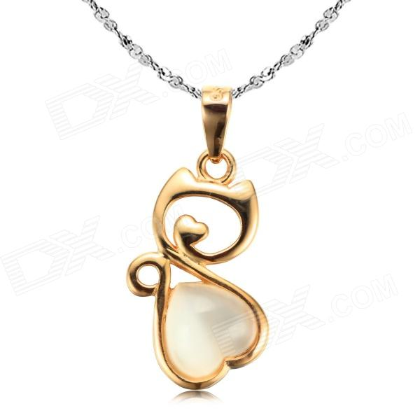 eQute PSIW7C3 925 Sterling Silver Lovely Cat's Eye Kitten Pendant Chain Necklace - Golden + Silver литой диск replica mi38 7 5x18 6x139 7 d67 1 et46 silver