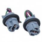 CHEERLINK T20 Brake Light / Reversing Lamps Socket Car Bulb Holder - Black + Blue Grey (2 PCS)