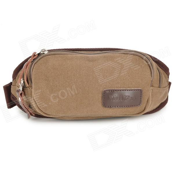 MLF1033 Men's Convenient Durable Canvas Waist Bag Satchel - Coffee