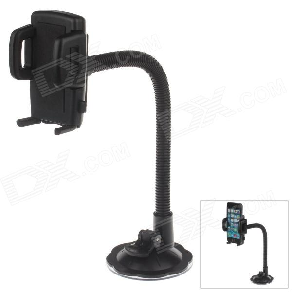 H29 360 Degree Rotation Suction Cup Holder w/ C47 4.3~5 Back Clip for Cell Phones + More - Black h08 360 rotation 4 port suction cup holder w silicone back clip for iphone 4 4s 5 ipad mini ipod