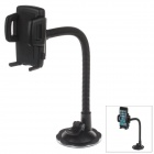 "H29 360 Degree Rotation Suction Cup Holder w/ C47 4.3~5"" Back Clip for Cell Phones + More - Black"