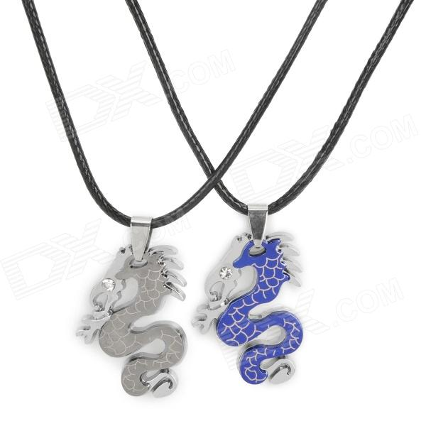 Cute Dragon Style Couple's Titanium Steel Pendant Necklace - Blue + Silver (Pair) kcchstar the eye of god high quality 316 titanium steel necklaces golden blue