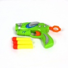 Manual Launch Outdoor Indoor Sponge Ball Gun Toy for Kids w/ 3-Sponge Cartridges -Multicolored:Green