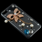 DIY Rhinestone Protective Back Case for iPhone 5 w/ Butterfly Pendant - Golden + Transparent + White