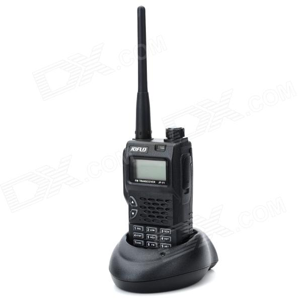 JOFLO JF-V1 1.4 FM Transceiver 128CH Wireless Walkie Talkie Interphone - Black - DXWalkie Talkies<br>Brand JOFLO Model JF-V1 Color Black Material Plasic + aluminium Quantity 1 Frequency Range 400MHz-470MHz Channel 128 Frequency Stability +/-2.5 ppm Output Power 8 W Working Voltage 7.4 V Working Distance 5~10 m Encryption CTCSS / DCS Battery Capacity 2200 mAh Standby Time 180 hour Working Time 60 hour Features RX sensitivity: Packing List 1 x Interphone 1 x 2200mAh Battery 1 x Antenna 1 x Belt clip 1 x 220~230V US plug power adapter (107cm) 1 x DC 12.5V battery charger 1 x Chinese &amp; English manual<br>