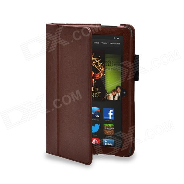 Protective PU Leather Case Cover Stand for Amazon Kindle Fire HDX 8.9 - Brown kindle fire 7 case 2017 shockproof heavy duty silicon case protective full body case cover for amazon kindle fire 7 2017 funda