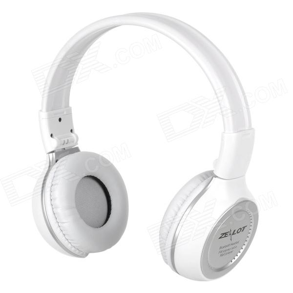 570 Rechargeable Bluetooth V2.1+EDR Stereo Headphone w/ LCD Screen / TF / FM - White + Silver stereo 1 5 lcd 2 mode switching radio fm transmitter w microphone silver