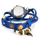 Bracelet Style Round Dial PU Band Quartz Wrist Watch - Deep Blue