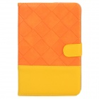 I PADMIN Checked Style Protective PU Leather Case w/ Auto Sleep for iPad Mini - Orange + Yellow
